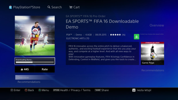 New Zealand Gamers Able to Download FIFA 16 Demo on PS4